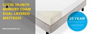 LUCID 10-Inch Memory Foam Dual Layered Mattress