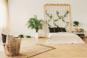 Eco friendly bedroom with floor bed